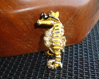 Tiny Seahorse Brooch Vintage Whimsical Yellow Enamel Sea Horse with Sunglasses Figural Pin Rhinestone