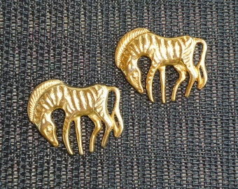 Skeleton Horse Pair Vintage Goldtone Pair of 2 Set Ghost Horse Stylized Zebra Figural Pins