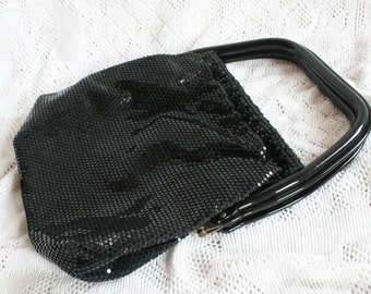 Black Mesh Purse Vintage Fancy Black Sequin Handbag Hard Handles Formal