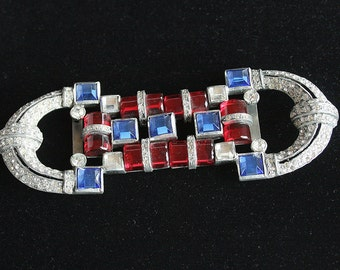 Art Deco Rhinestone Buckle Vintage 2 Piece Belt Buckle Scarlet Red Sapphire Blue Cylinder Cabs