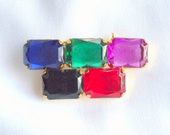Geometric Brooch Colorful Vintage Pin Large Chunky Topaz Emerald Pink Fuschia Onyx Ruby