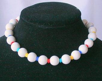 Primary Colors Beaded Choker Beaded Necklace White Vintage Colorful