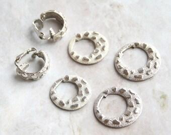 Interchangeable Door Knocker Hoop Earrings Vintage Textured Silvertone Dangles RARE Signed CORO