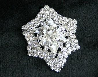 Vintage Silver Rhinestone Star Brooch Star Shaped Silver Domed Pin Elegant Juliana Style Sparkle Wedding Bride