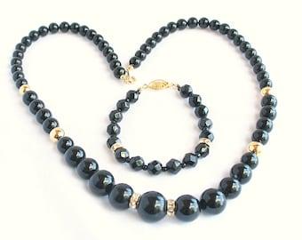 Vintage Japan Black Bead Necklace Bracelet Set Vintage with Goldtone Rhinestone Rondelles Japan
