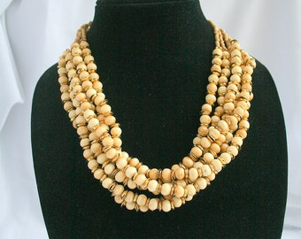 Bone Beads Torsade Necklace Vintage Beaded Twisted Layered Multistrand Tribal Chunky