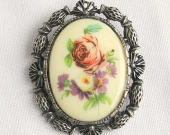 Antiqued Silver Flower Brooch Vintage Ceramic Floral Transfer Pin Oval Rose Purple Green West German