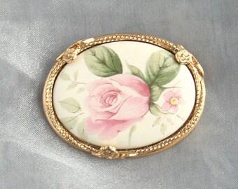 Vintage Flower Brooch Vintage Painted Ceramic Pink Rose Flowers Pin Oval Horizontal Frame West German Style