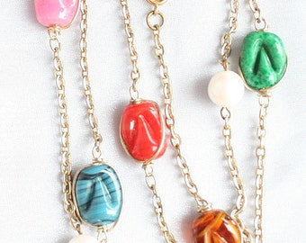 Colorful Art Glass Necklace Vintage Caged Glass Multi Color Beads on Chain Bright Retro Abstract Colorful