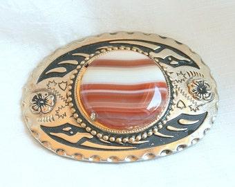 Orange Banded Agate Belt Buckle Vintage Cream Black Enamel Design Unique