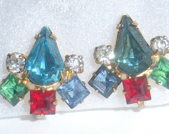 Colorful Rhinestone Earrings Vintage Multicolor Blue Red Green Teardops Screw Back