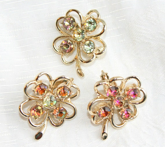 Vintage Sarah Coventry Clover Brooch Earrings Set 1959 Pin Watermelon AB Rhinestones Shamrocks