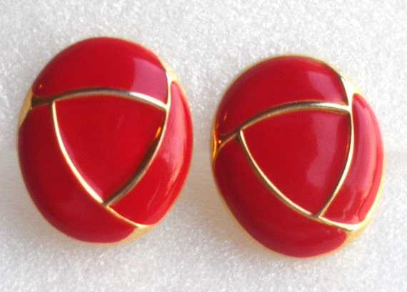 Vintage Red Enamel Earrings Ovals Retro 1980s Abstract Gold Geometric Clip On