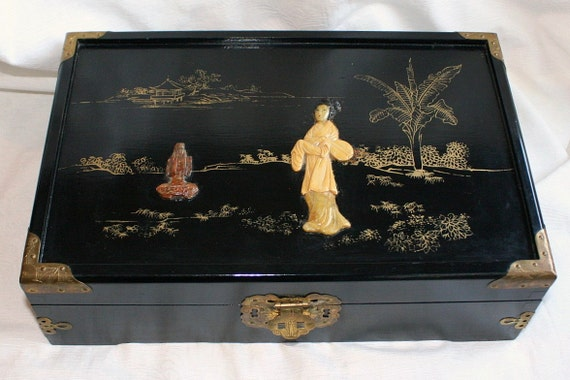 Vintage Black Lacquered Asian Jewelry Box Large Wood Carved Inlay Brass Japanese LARGE