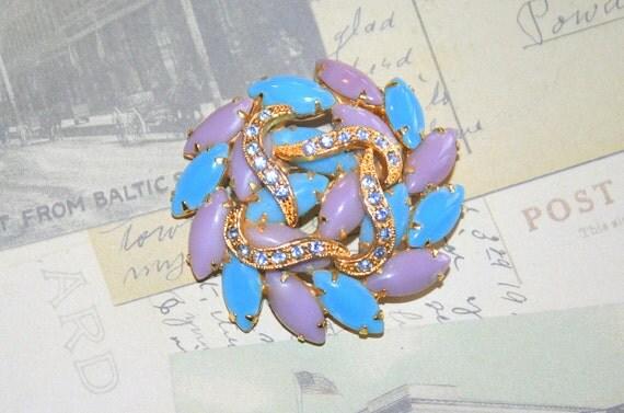 Vintage Thermoset Brooch Galaxy Pin Turquoise Blue Lavender Aqua Blue Rhinestones