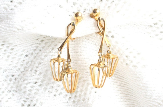 Vintage Gold Lantern Earrings 1960s Dangle Drops Retro Clip Ons