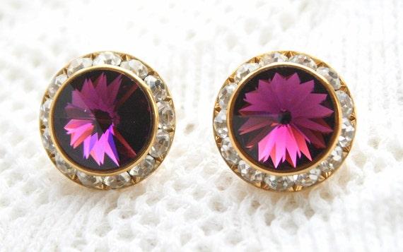 Vintage Big Amethyst Purple Rivoli Pierced Earrings Sparkling Round Large Crystal Rhinestones