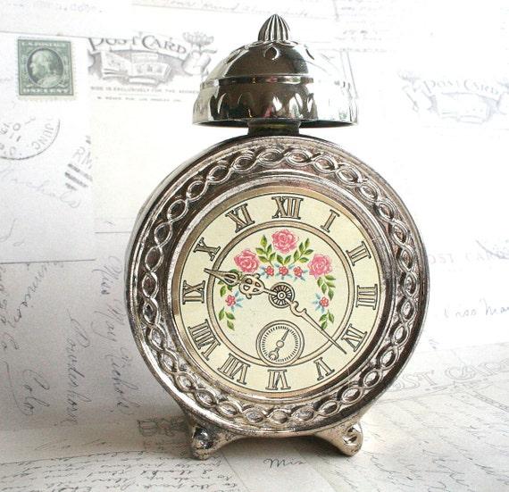 Vintage Clock Perfume Bottle Avon Roses Roses Roses Vanity Decoration Display
