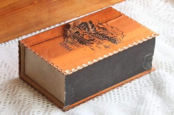 Vintage Copper Matchbox Norway Large Mid Century Modernist Big  Decorative Engraved Fishing Scalloped Trinket Box