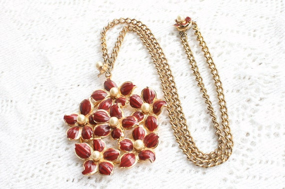 Vintage Red Flower Pendant Necklace Enamel Cranberry Faux Pearl Big Chunky