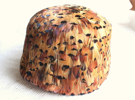 Pheasant Feather Hat Vintage Layered Gorgeous Color Bucket Flapper Style
