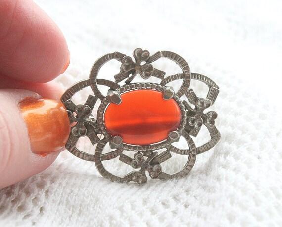 Vintage Carnelian Cut Steel Brooch Pin Silver Clover Openwork Orange Agate