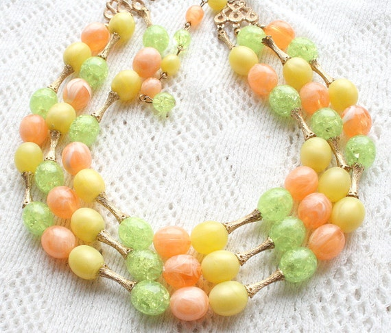 Vintage Multi Strand Beaded Necklace Bright Color Orange Yellow Green Beads CIJ Sale