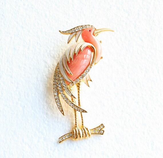 Pink Heron Brooch Vintage Flamingo Bird Figural Pin Rhinestones Enamel Lucite Unsigned Hattie Carnegie
