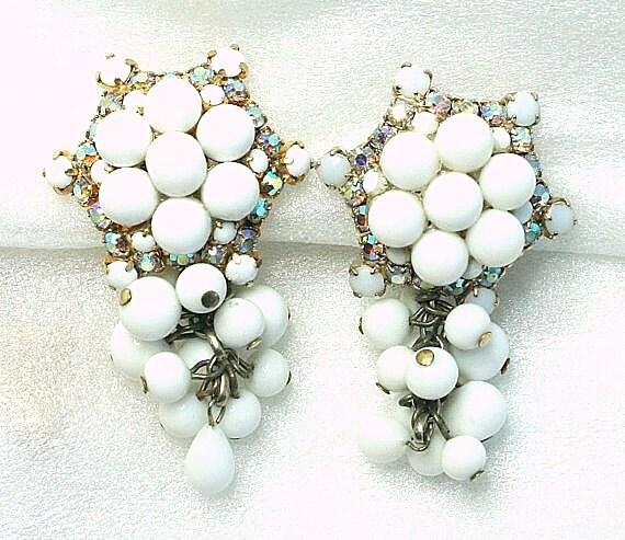 RESERVED LISTING for Donna Smith Vintage Big White Milk Glass Beaded Earrings Signed HOBE