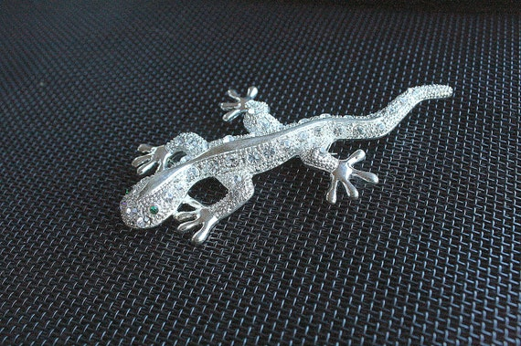 Silver Lizard Brooch Large Vintage Silver Rhinestone Accents Lizard Salamander Gecko Figural Pin 4 Inches Long