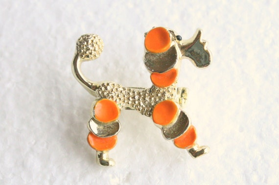 Poodle Dog Brooch Vintage Orange Vintage Gerrys Poodle Figural Pin Goldtone Orange Enamel