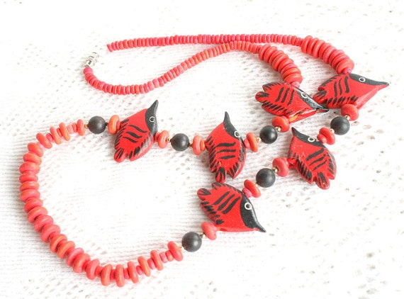 Vintage Red Fish Necklace Wood Beaded Lightweight Bright Color