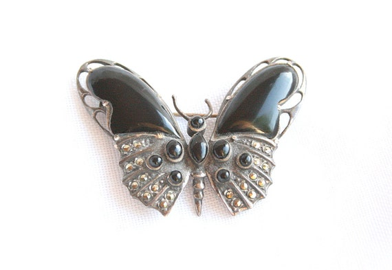 Antiqued Silver Butterfly Brooch Vintage Silver Marcasite Black Onyx Butterfly Figural Pin