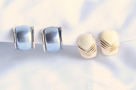 Blue Cream Wide Hoop Earrings Lot Two Pair Vintage Lot 1970s Enamel Cream Mermaid Blue