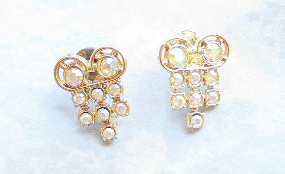 Pair Rhinestones Brooch Vintage Tac Pin Lot of Two Sparkling Colorful Rainbows on Lapel Hat Bag