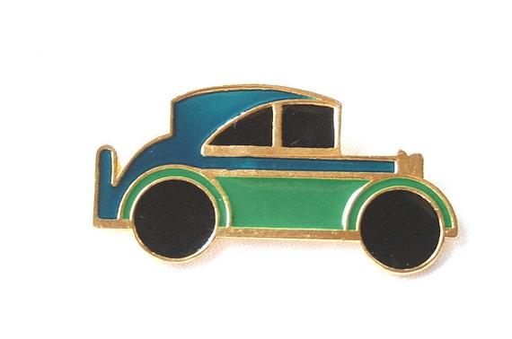 Hot Rod Car Brooch Vintage Figural Pin Unisex Enamel Gold Blue Green
