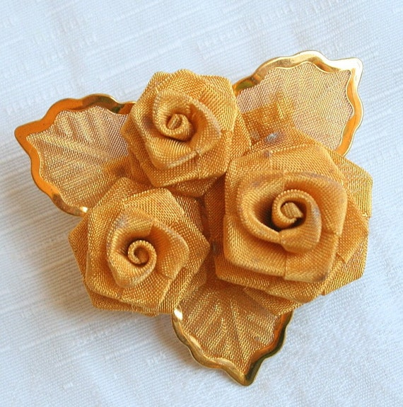 Vintage Gold Mesh Flower Brooch Rose Pin Delicate Feminine Wedding