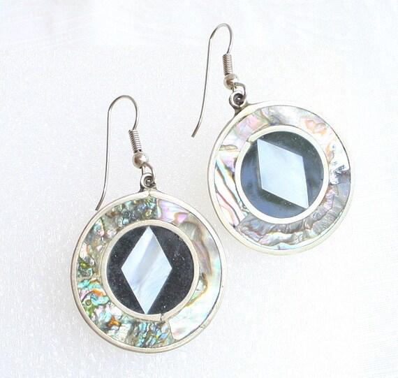 Vintage Silver Abalone Pierced Earrings Mother of Pearl Onyx Dangle Drop