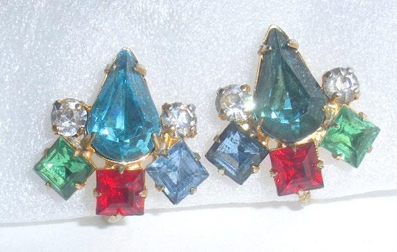 Colorful Rhinestone Earrings Vintage Multicolor Blue Red Green Teardops Screw Back
