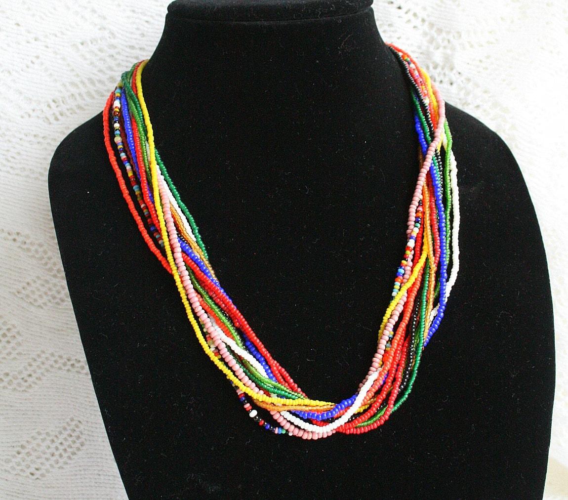Torsade Necklace: Vintage Multi Strand Beaded Torsade Necklace Tribal Retro 70s