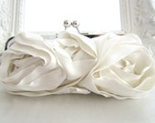 Bridal Clutch - Couture Silk -  WHITE or IVORY - PEYTON