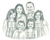 Custom Family Portrait in Graphite Pencil- 11 x 14