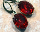 VIXEN Vintage Estate Style Rhinestone Earrings Rare Red