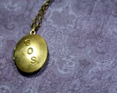 SOS Vintage Brass Locket