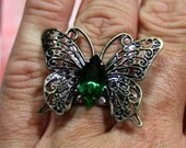 Flutterby Ring Antique Brass with Vintage Swarovski Crystal Emerald Green