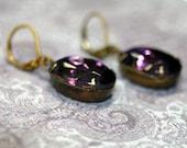 Rare Cardinal Purple Estate Rhinestone Earrings by Twilight Shades