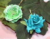 Quick Trip to the Tropics Floral Bobby Pin Set Teal Green