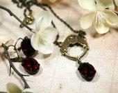 Juliet Ruby Red Vintage Swarovski Necklace n Earring Set Rhinestones Heirloom Art Deco