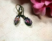 Soft Plum Light Amethyst Swarovski Vintage Rhinestone Earrings