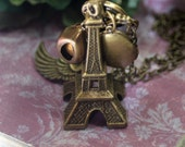 Once in a Lifetime Trip  Charm Necklace Paris Locket Vintage Rhinestone Angel Fairy Wings